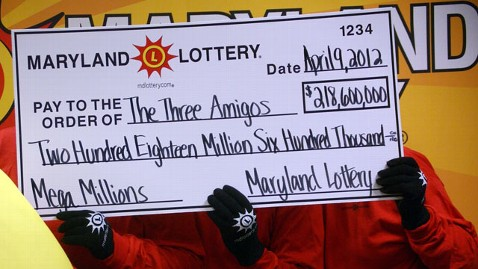 Lottery 24 -The Three Amigos winners won a share of $218m in Maryland